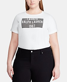 Lauren Ralph Lauren Plus-Size Logo Graphic-Print Cotton T-Shirt