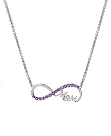 Amethyst(1/2 c.t. tw.) & Diamond Accent Mom Infinity Pendant Necklace in Sterling Silver