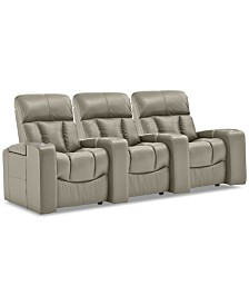 Stratsford Leather 3-Pc. Theatre Sectional Sofa