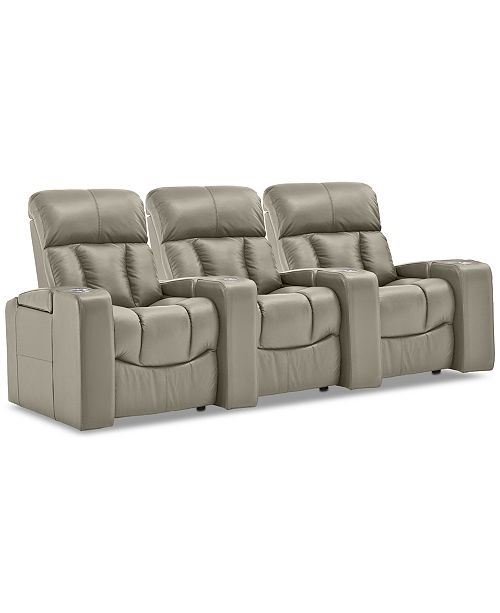 Leather 3 Pc Theatre Sectional Sofa