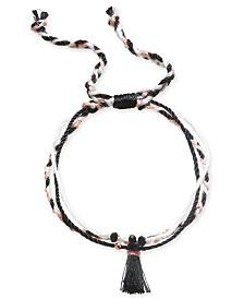 Kitsch Gold-Tone Bead & Tassel String Slider Bracelet