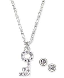 "Silver-Tone Crystal Skeleton Key Pendant Necklace & Stud Earrings Set, 17"" + 1"" extender"
