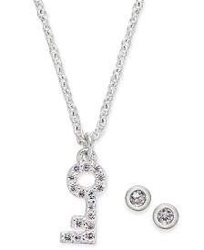 "Kitsch Silver-Tone Crystal Skeleton Key Pendant Necklace & Stud Earrings Set, 17"" + 1"" extender"