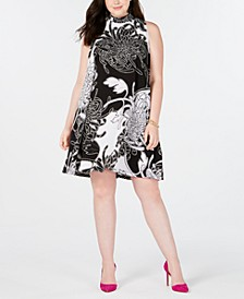 Trendy Plus Size Printed Shift Dress