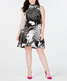 Robbie Bee Trendy Plus Size Printed Shift Dress