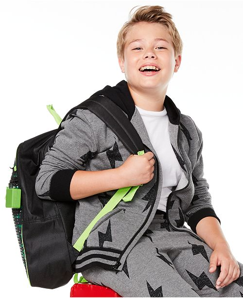 Epic Threads Big Boys Lightning Bolt-Print Full-Zip Fleece Hoodie, Created for Macy's