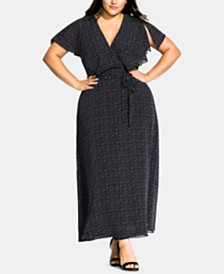 City Chic Trendy Plus Size Dot-Print Faux-Wrap Maxi Dress