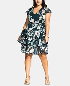 City Chic Trendy Plus Size Fresh Fields Dress