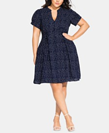 City Chic Trendy Plus Size Blue Skies Dress