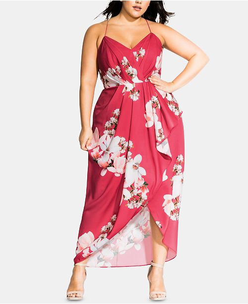 City Chic Trendy Plus Size Lotus Floral-Print Maxi Dress