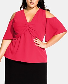 City Chic Trendy Plus Size Twist-Front Cold-Shoulder Top