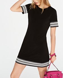 MICHAEL Michael Kors Petite Border-Striped Dress