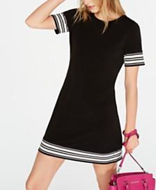 Michael Michael Kors Petite Border-Striped Dress