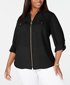 Michael Michael Kors Plus Size Zip-Front Utility Shirt