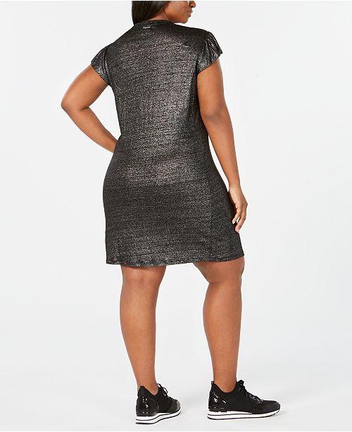 Plus Size Metallic Linen Dress