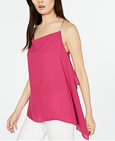 Chain-Strap Handkerchief-Hem Sleeveless Top