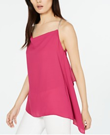 Michael Michael Kors Chain-Strap Handkerchief-Hem Sleeveless Top