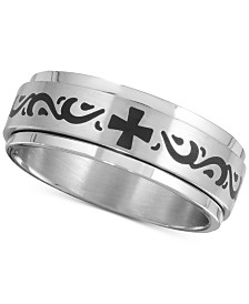 Men's Celtic Cross Band in Stainless Steel & Black Ion-Plate