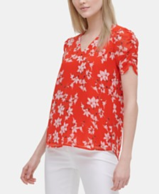 Calvin Klein Floral-Print Gathered-Sleeve Top