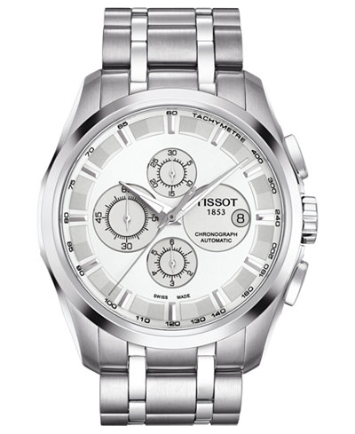 tissot watch men s swiss automatic chronograph couturier tissot watch men s swiss automatic chronograph couturier stainless steel bracelet 43mm t0356271103100