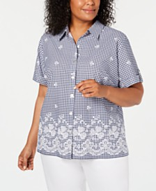 Alfred Dunner Plus Size In The Navy Gingham Button-Up Shirt