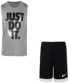Nike Little Boys 2-Pc. Dri-FIT Just Do It Sleeveless T-Shirt & Mesh Shorts Set