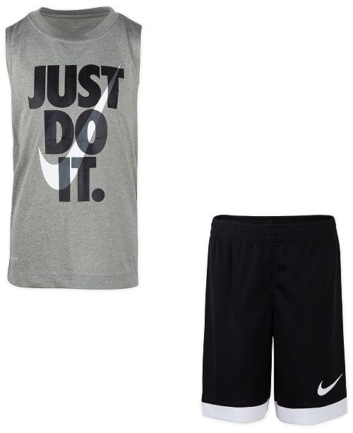 Nike Toddler Boys 2-Pc. Dri-FIT Just Do It Sleeveless T-Shirt & Mesh Shorts Set