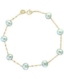 EFFY® Gray Cultured Freshwater Pearl (5-1/2mm) Bracelet in 14k White Gold