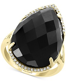 EFFY® Onyx (22 x 15mm) & Diamond (1/10 ct. t.w.) Statement Ring in 14k Gold