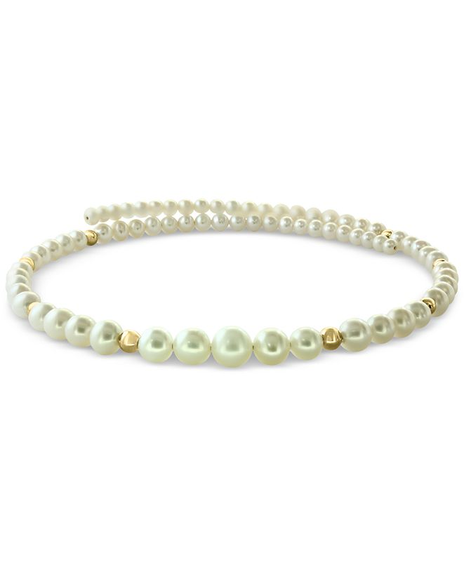 EFFY Collection EFFY® Cultured Freshwater Pearl (4-9mm) & Gold Bead Flexible Choker Necklace in 14k Gold