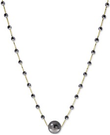 "EFFY® Cultured Tahitian Pearl (10mm) & Hematite Bead 18"" Statement Necklace in 14k Gold"