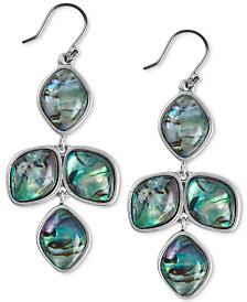 Lucky Brand Silver-Tone Stone Chandelier Earrings