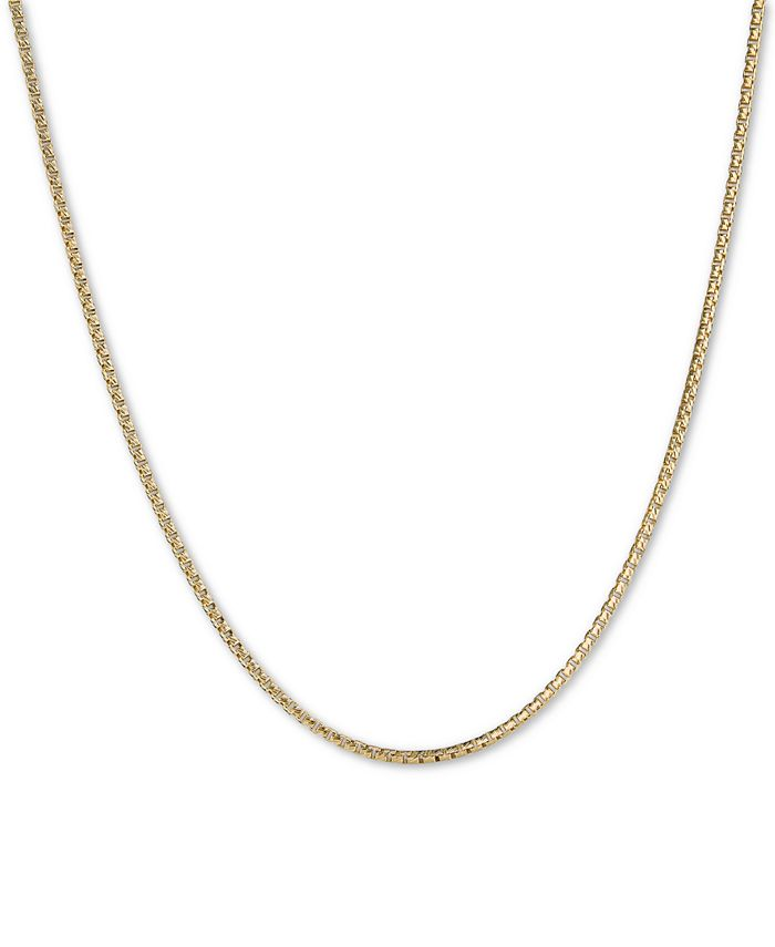 """Italian Gold - Textured Box Link 18"""" Chain Necklace in 14k Gold"""