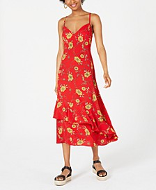 Juniors' Printed Slip Maxi Dress