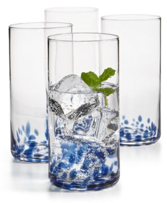 Blue Speckle Highball Glasses, Set of 4, Created for Macy's