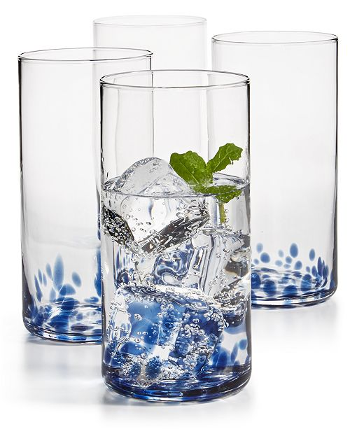 The Cellar Blue Speckle Highball Glasses, Set of 4, Created for Macy's