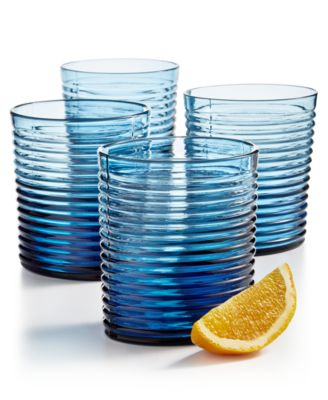 CLOSEOUT! Blue Ribbed Double Old-Fashioned Glasses, Set of 4, Created for Macy's
