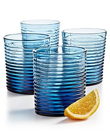 The Cellar Blue Ribbed Double Old-Fashioned Glasses, Set of 4, Created for Macy's