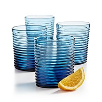 4-Set The Cellar Blue Ribbed Double Old-Fashioned Glasses
