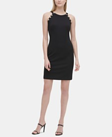 Calvin Klein Button-Trim Halter Sheath Dress