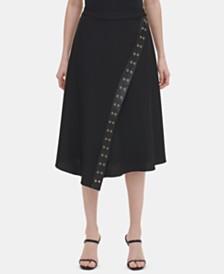 Calvin Klein Grommet-Trim Asymmetrical Midi Skirt