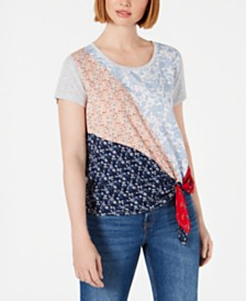 Style & Co Mixed-Print Side-Tie T-Shirt, Created for Macy's