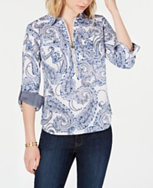 Tommy Hilfiger Cotton Printed Popover Top
