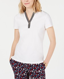 Tommy Hilfiger Striped-Trim V-Neck Top