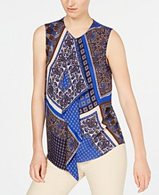 Scarf-Print Sleeveless Blouse