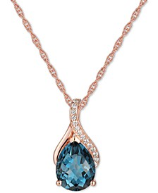 "Blue Topaz (1-7/8 ct. t.w.) & Diamond (1/20 ct. t.w.) 18"" Pendant Necklace in 14k Yellow Gold (Also available in Citrine, Amethyst & Rhodolite Garnet)"