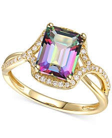 Mystic Topaz (2-5/8 ct. t.w.) & Diamond (1/4 ct. t.w.) Statement Ring in 14k Gold