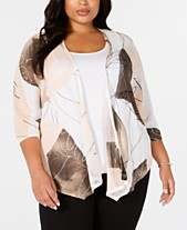 b1fcedf70722 Alfani Plus Size Printed Open-Front Cardigan, Created for Macy's