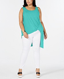 Plus Size Asymmetrical Side-Gathered Top, Created for Macy's