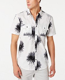 INC Men's Regular-Fit Dripping Palm-Print Shirt, Created for Macy's